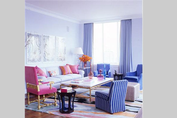 pink blue living room 40 Cool Decorating Ideas For Living Rooms