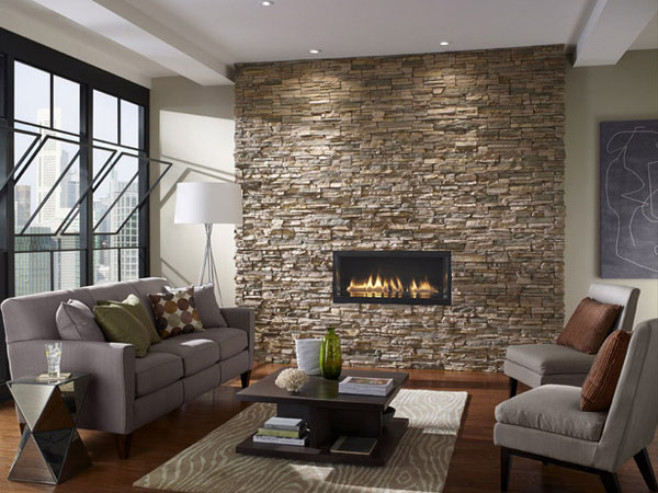 stone ember wal living room 40 Cool Decorating Ideas For Living Rooms