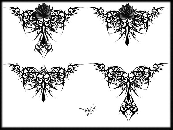 Gothic Tribal Rose Tattoo LB