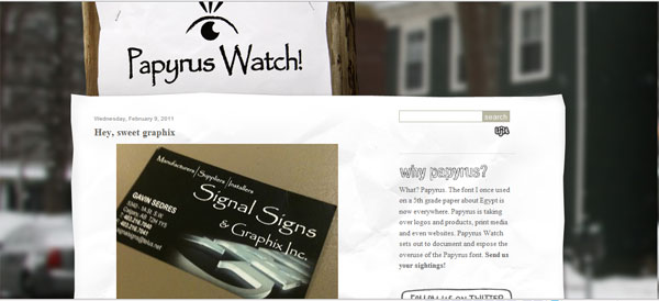 papyrus watch Papyrus Font Collection