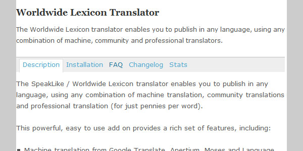 speaklike worldwide lexicon translator 10 Handy Translation Plugins For WordPress