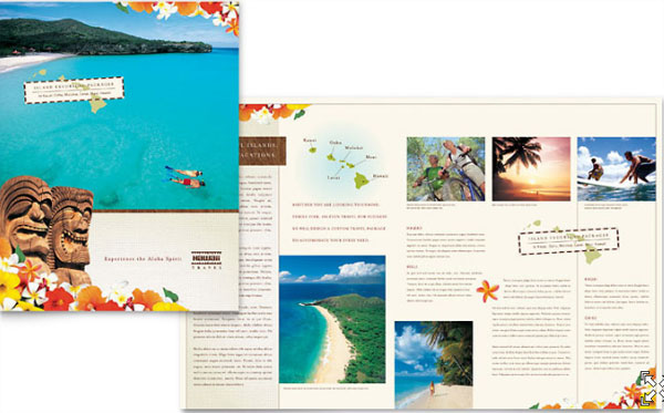 Hawaii Travel Vacation Brochure Template  Information Pamphlet Template