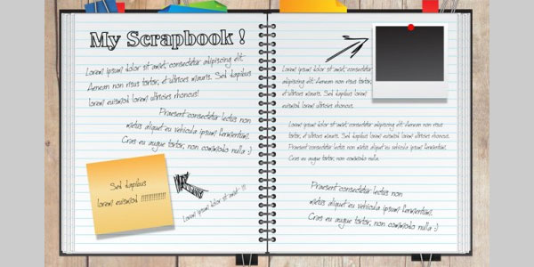 Create a fun scrapbook in illustrator