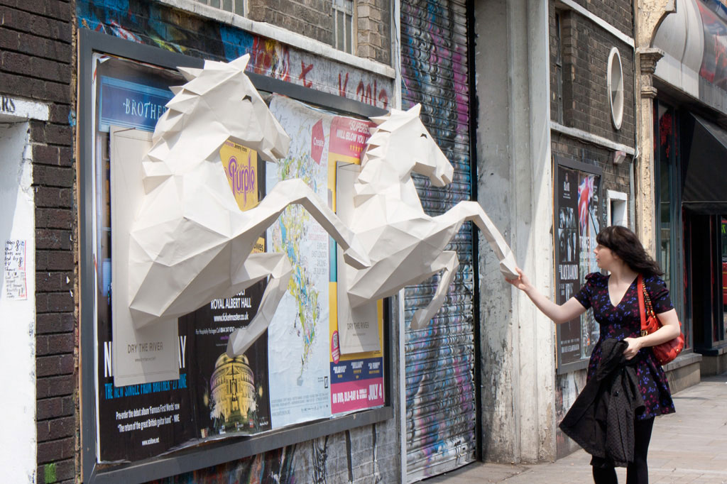 papercrafted horses 20 New Advertising Ideas