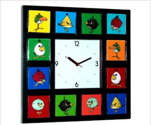 Angry Birds game desk/wall Clock 12 colorful pictures