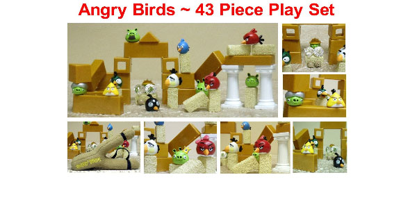 1 Angry Brids 12 Piece Angry Birds and Green Pigs Playset with Amazing Plush Angry Bird Sling Shot Shooter to Launch Figures