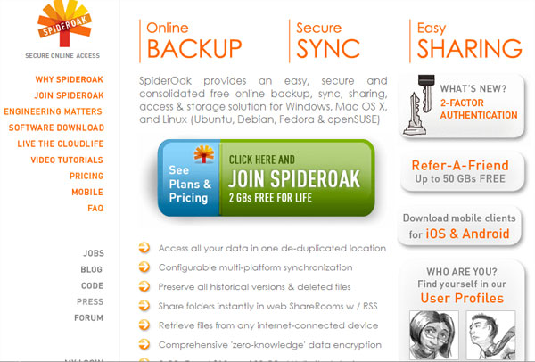 spideroak 15 Useful Free Services To Backup Your Data Online