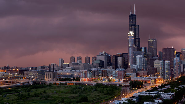 Sunset And Storm In Chicago