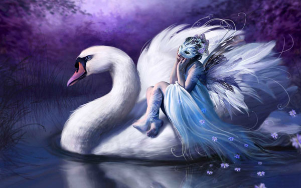 Woman Riding On a Swan