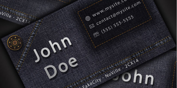 25 lovely business card design tutorials design a cool and original jeans style business card in photoshop reheart Image collections