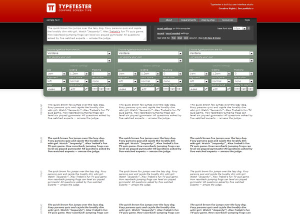 typetester 20 Apps For Cloud Based Web Dev