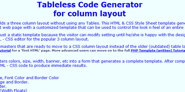 Tableless Code Generator for column layout