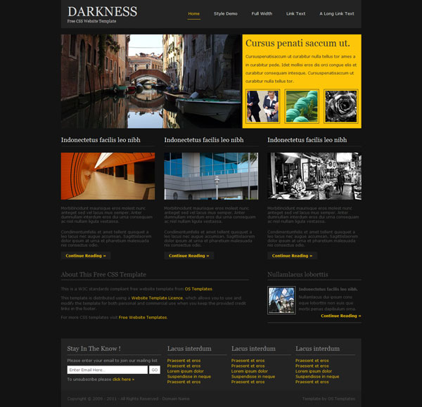 darkness 20 Beautiful Free CSS Web Templates
