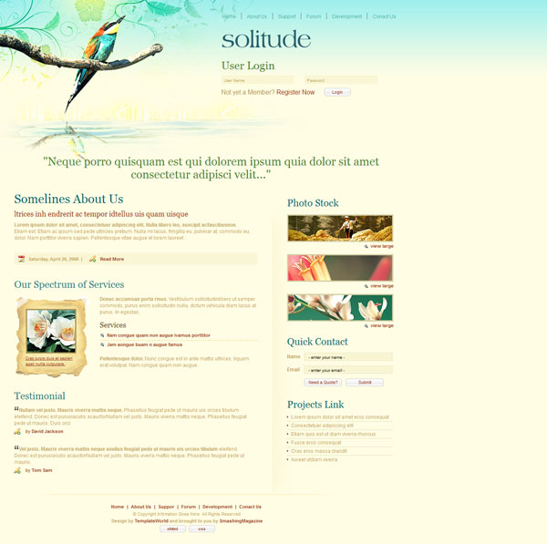 solitude 20 Beautiful Free CSS Web Templates