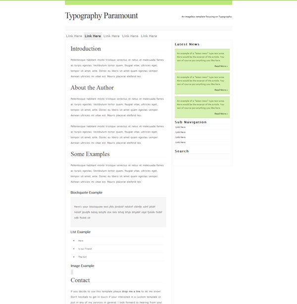 typography paramount 20 Beautiful Free CSS Web Templates