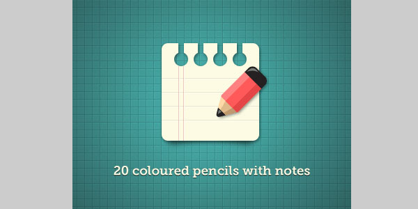 20 Coloured pencils with notes