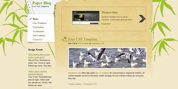 paper blog free blogging template 25 Free PSD Website Templates