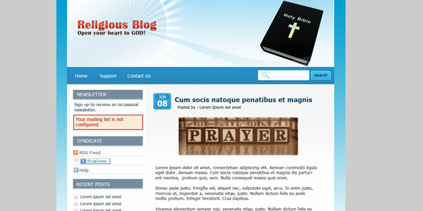 religiousblogtemplate 25 Free PSD Website Templates