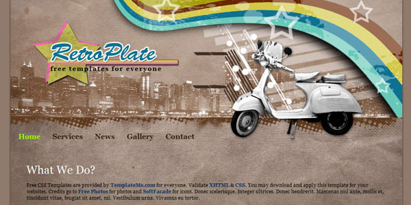 retro plate free web template 25 Free PSD Website Templates