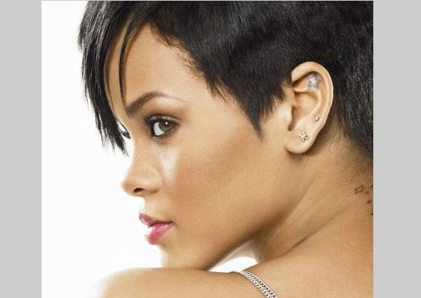 Rihanna Tattoo Behind Ear