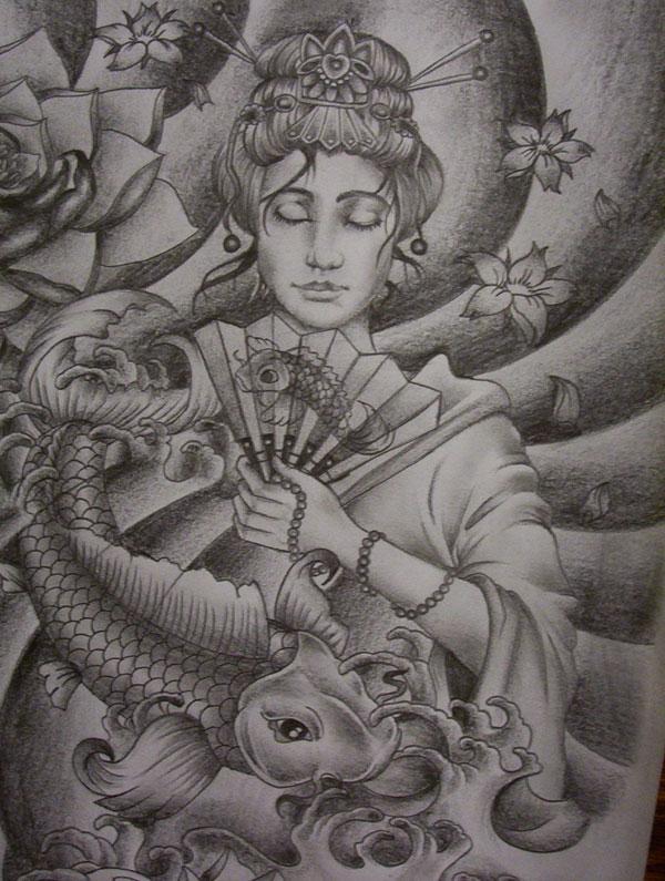 Geisha and koi tattoo design