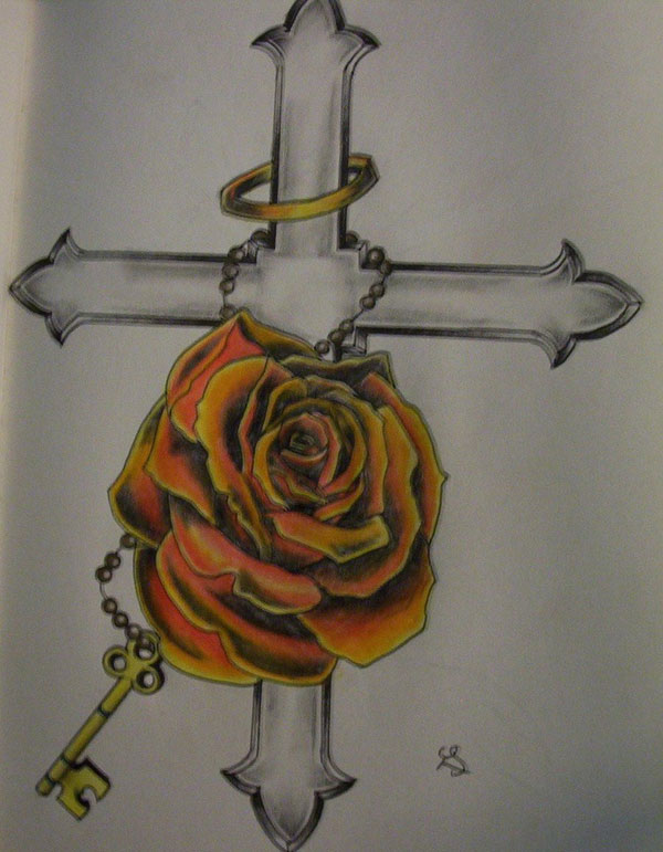 Rose tattoo design with cross