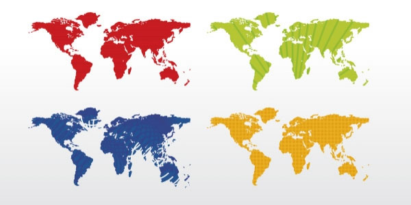 world map 4 colors vector 20 Free Files Of Vector Maps