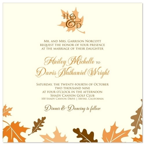25 lovely wedding invitation designs fall leaves wedding invitation stopboris Gallery