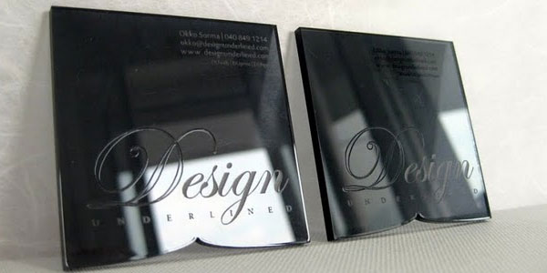 Acrylic black business cards