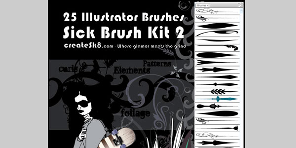"Free Illustrator Brushes - Sick Brush Kit 2 ""elementals"""