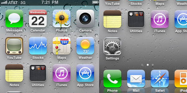 iPhone iOS 4 Default App Icons