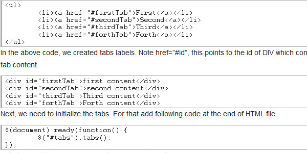 Create HTML tabs using jQuery UI