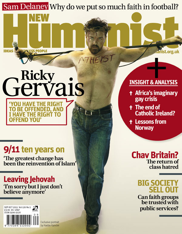 New Humanist Magazine || Atheist Ricky Gervais Crucified
