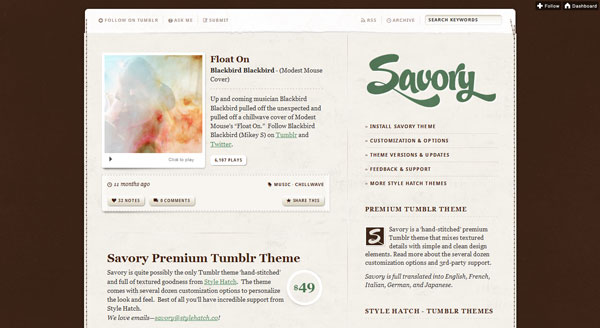 savorytheme 40 Awesome Tumblr Themes