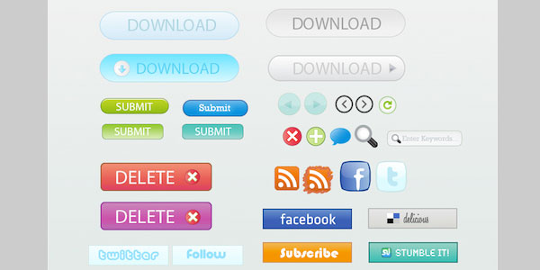 Free Vector Buttons and Icons with Source File