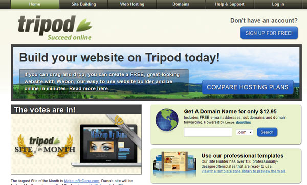 tripod 15 Top Free Website Builders