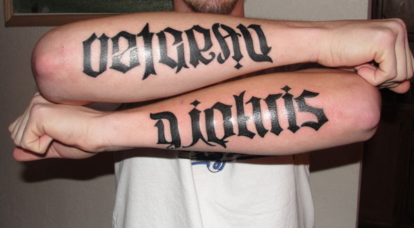 double forearm tat 15 Awesome Ambigram Tattoos