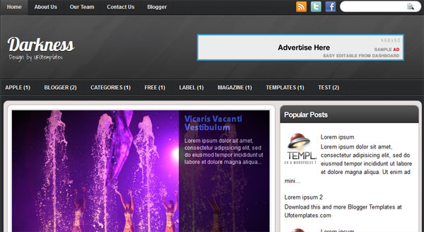 darkness blogger 25 Top Blogger Templates