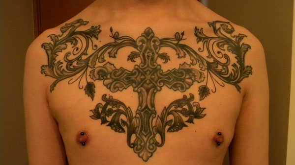 Chest Cross Tattoo