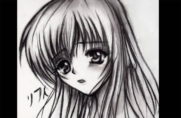 Anime Drawing-charcoal art