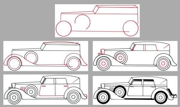 How to Draw a Classic Car in 5 Steps