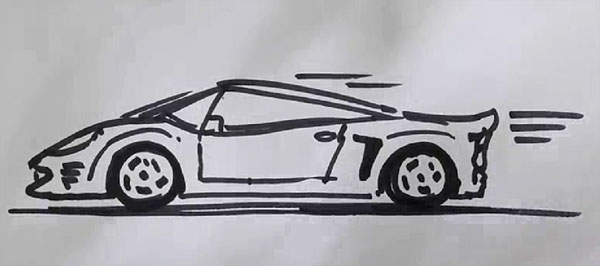 How to draw sports car real easy