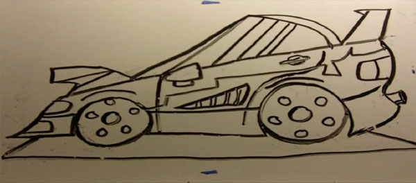 How To Draw Cartoon TUNER-MODIFIED CAR the EZ Way