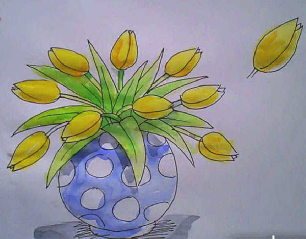 How to draw a vase of tulips