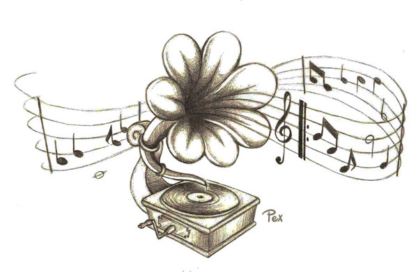 gramophone flower tattoo 15 Nice Flower Tattoo Designs