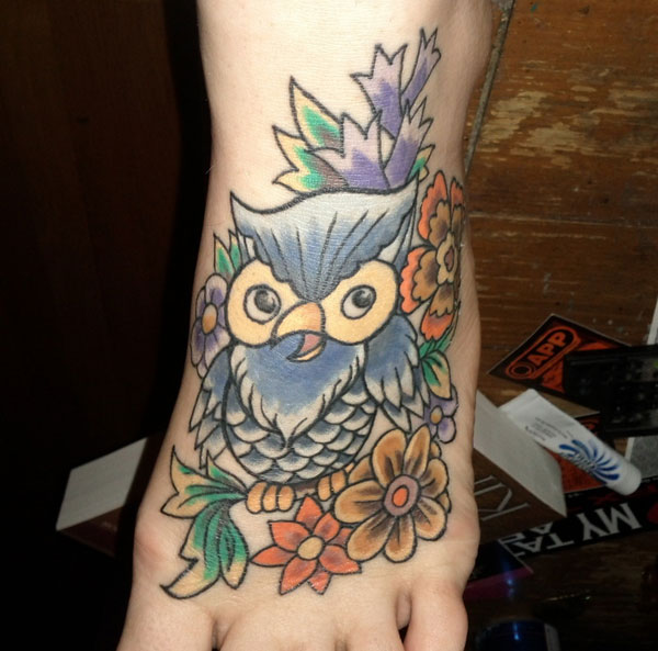 70's owl with flowers