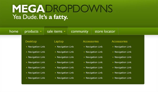 Mega Drop Down Menu w/ CSS & jQuery