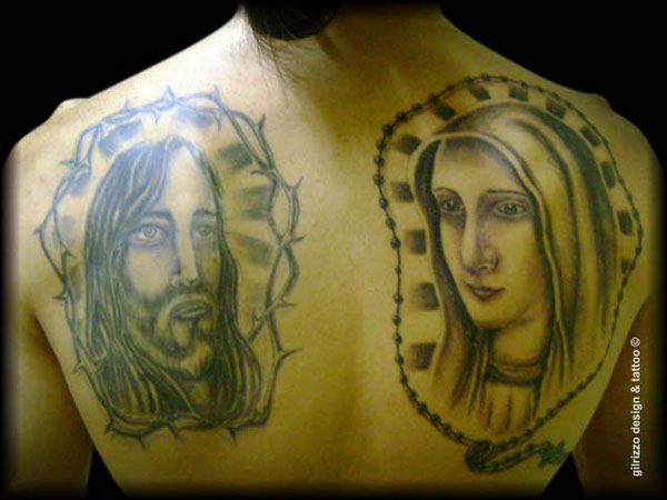 Jesus and virgin mary tattoo