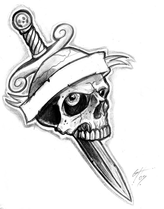 Dagger and Skull Tattoo Flash