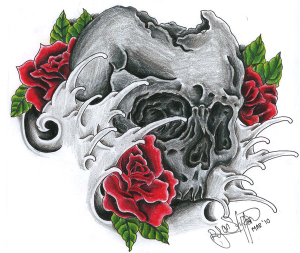 skull rose 15 Atrocious Skull Tattoos